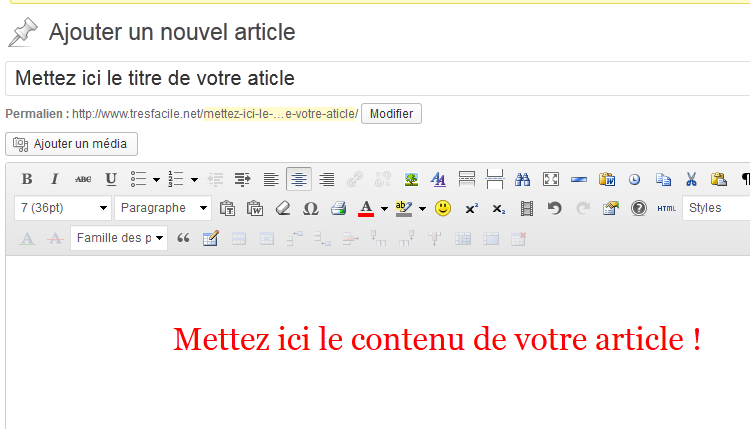 rédiger un article WordPress