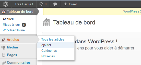 Ajouter un article WordPress