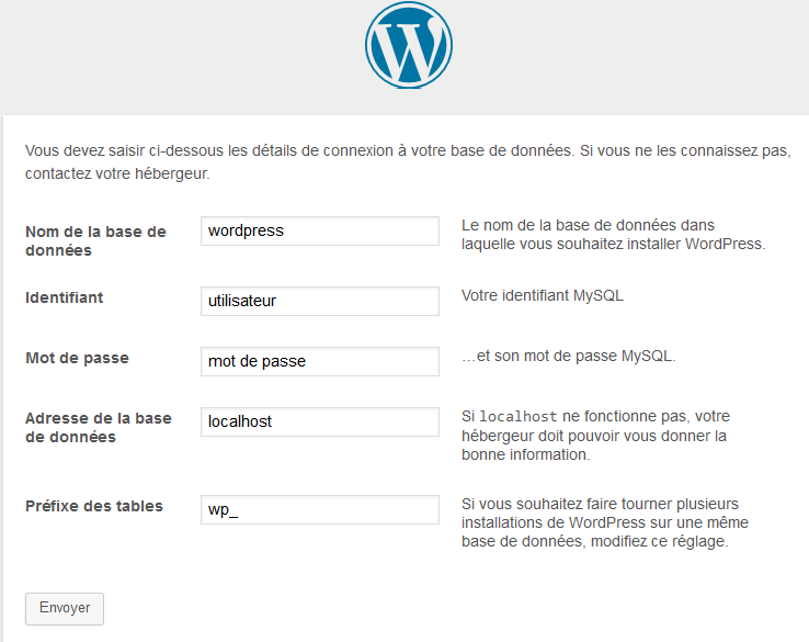 installation de wordpress paramètre de configuration