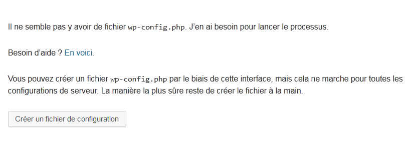 installation de wordpress creez-fichier de configuration