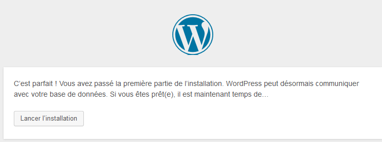 lancer l'installation de wordpress
