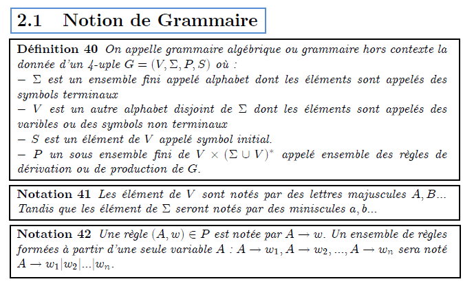 \chapter{Grammaire hors contexte} \section{Notion de Grammaire} \begin{definition} On appelle grammaire alg\'{e}brique ou grammaire hors contexte la donn\'{e}e d'un 4-uple $G=(V,\Sigma ,P,S)$ o\`{u} :\newline $-$ $\Sigma $ est un ensemble fini appel\'{e} alphabet dont les \'{e}l\'{e}% ments sont appel\'{e}s des symbols terminaux\newline $-$ $V$ est un autre alphabet disjoint de $\Sigma $\ dont les \'{e}l\'{e}% ments sont appel\'{e}s des varibles ou des symbols non terminaux\newline $-$ $S$ est un \'{e}l\'{e}ment de $V$ appel\'{e} symbol initial.\newline $-$ $P$ un sous ensemble fini de $V\times (\Sigma \cup V)^{\ast }$ appel\'{e} ensemble des r\`{e}gles de d\'{e}rivation ou de production de $G.$ \end{definition} \begin{notation} Les \'{e}l\'{e}ment de $V$ sont not\'{e}s par des lettres majuscules $A,B...$ Tandis que les \'{e}l\'{e}ment de $\Sigma $ seront not\'{e}s par des miniscules $a,b...$ \end{notation} \begin{notation} Une r\`{e}gle $(A,w)\in P$ est not\'{e}e par $A\rightarrow w.$ Un ensemble de r\`{e}gles form\'{e}es \`{a} partir d'une seule variable $A$ : $% A\rightarrow w_{1},A\rightarrow w_{2},...,A\rightarrow w_{n}$ sera not\'{e} $% A\rightarrow w_{1}|w_{2}|...|w_{n}.$ \end{notation}