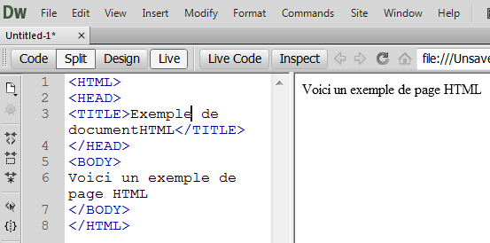dreamweaver-cs6-live.png : It is also possible to display and modify directly the code (HTML or other) that composes the page. It is very easy to switch from one display mode to another, or choose a mixed display.