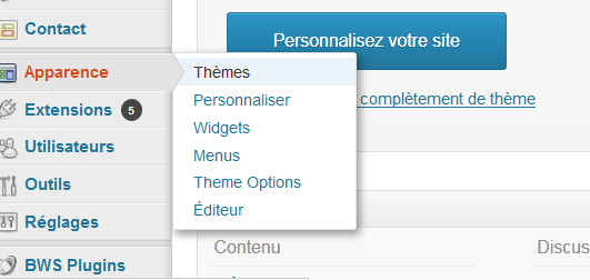 wordpress menu apparence themes