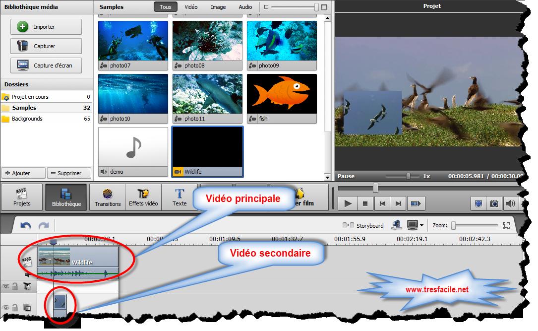 Superposition vidéo L'effet de Superposition vidéo vous permet de superposer une image vidéo sur un clip vidéo. Tout d'abord vous devez choisir une image ou un clip vidéo à superposer et l'ajouter à la Timeline. Ensuite vous aurez la possibilité de modifier les paramètres de l'image (ou vidéo) ajoutée.