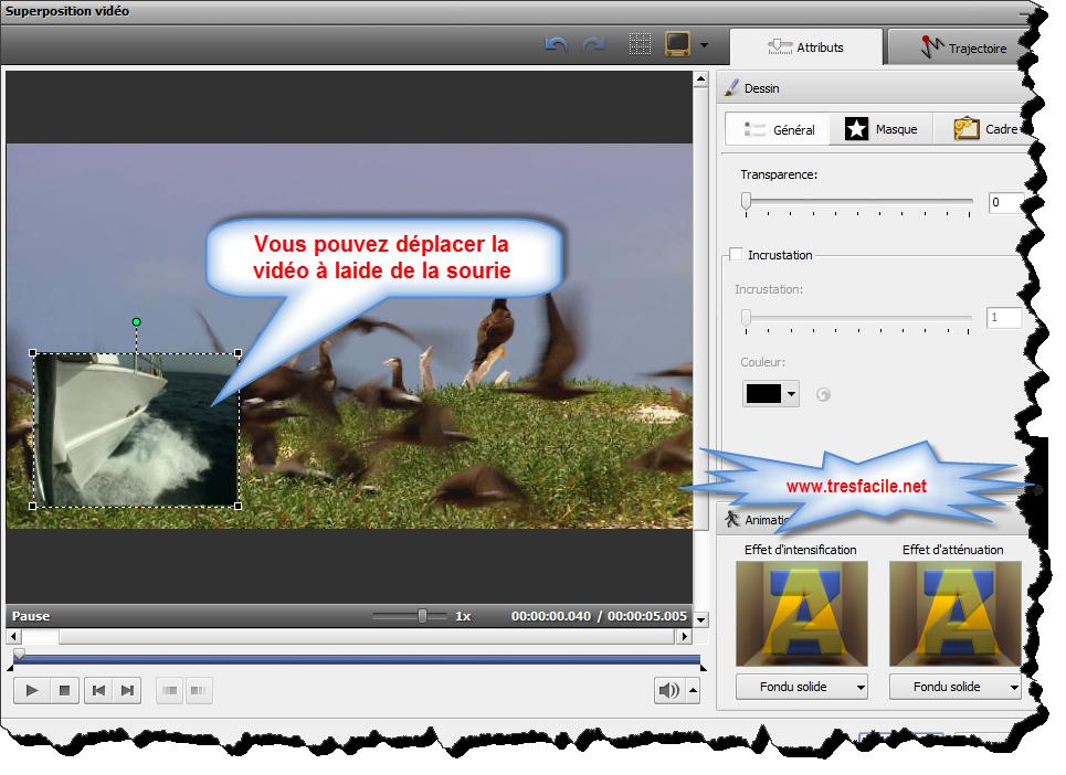Réglage de la superposition vidéo Une fois que l'effet de superposition vidéo est ajouté à la Timeline vous pouvez modifier ses paramètres. Cliquez sur la barre bleue d'effet sur la Timeline et appuyez le bouton Editer sur la Barre d'outils Timeline. Ou cliquez-la avec le bouton droit de la souris et sélectionnez l'option Editer du menu contextuel. La fenêtre suivante apparaît: