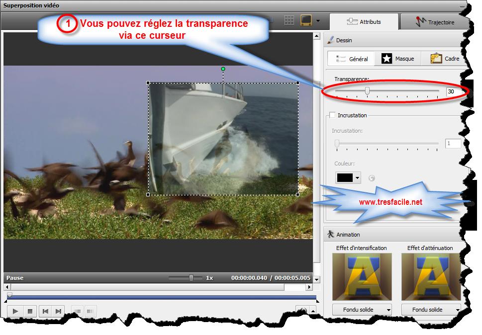 Transparence - transparence de l'image vidéo ou superposée (vous pouvez régler la valeur de transparence de 0 à 100). Inlay - cochez la case à appliquer. Vous pouvez déterminer sa valeur à l'aide de la bande de recouvrement. Couleur - une couleur à disparaître. Vous pouvez sélectionner la couleur que vous souhaitez supprimer de la liste déroulante en cliquant sur la flèche noire ou vous pouvez choisir une couleur à partir de l'image. Pour ce faire, cliquez sur le champ de couleur et déplacez la pipette pour trouver une couleur appropriée. Vous pouvez agrandir l'image pour la sélectionner plus précisément. Si vous n'aimez pas le résultat, utilisez le bouton pour restaurer les couleurs pour annuler les modifications.
