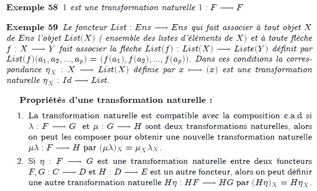 "18-exemples et propriétés d'une transformation naturelle : Operations with natural transformations If η : F → G and ε : G → H are natural transformations between functors F,G,H : C → D, then we can compose them to get a natural transformation εη : F → H. This is done componentwise: (εη)X = εXηX. This ""vertical composition"" of natural transformation is associative and has an identity, and allows one to consider the collection of all functors C → D itself as a category (see below under Functor categories). Natural transformations also have a ""horizontal composition"". If η : F → G is a natural transformation between functors F,G : C → D and ε : J → K is a natural transformation between functors J,K : D → E, then the composition of functors allows a composition of natural transformations ηε : JF → KG. This operation is also associative with identity, and the identity coincides with that for vertical composition. The two operations are related by an identity which exchanges vertical composition with horizontal composition. If η : F → G is a natural transformation between functors F,G : C → D, and H : D → E is another functor, then we can form the natural transformation Hη : HF → HG by defining"