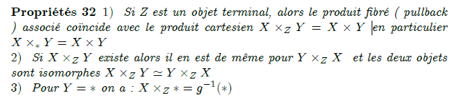 19-propriétés d'un pullback : Properties Whenever X ×Z Y exists, then so does Y ×Z X and there is an isomorphism X ×Z Y ≅ Y ×Z X. Monomorphisms are stable under pullback: if the arrow f above is monic, then so is the arrow p2. For example, in the category of sets, if X is a subset of Z, then, for any g : Y → Z, the pullback X ×Z Y is the inverse image of X under g\circ p_2 . Isomorphisms are also stable, and hence, for example, X ×X Y ≅ Y for any map Y → X. Any category with pullbacks and products has equalizers.