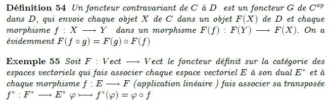 28-foncteur-contravariant : Un foncteur contravariant de C à D est un foncteur G de C^{op} dans D, qui envoie chaque objet X de C dans un objet F(X) de D et chaque morphisme f:X→Y dans un morphisme F(f):F(Y)→F(X). On a évidemment F(f∘g)=F(g)∘F(f) <example/>Soit F:Vect→Vect le foncteur définit sur la catégorie des espaces vectoriels qui fais associer chaque espace vectoriel E à son dual E^{∗} et à chaque morphisme f:E→F (application linéaire ) fais associer sa transposée f^{∗}:F^{∗}→E^{∗} ϕ↦f^{∗}(ϕ)=ϕ∘f