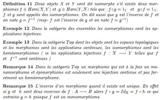 Les isomorphismes dans la catégorie des ensembles ordonnés sont les bijections croissantes dont la bijection réciproque est croissante (cette condition sur la bijection réciproque est automatiquement vérifiée dans le cas des ensembles totalement ordonnés, mais pas dans le cas général).