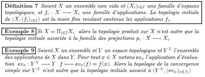Topologie initiale et finale, topologie limite inductive Topologie initiale <definition/>Soient X un ensemble non vide et (X_{i})_{i∈I} une famille d'espaces topologiques, et f_{i}:X→X_{i} une famille d'applications. La topologie initiale de (X,(f_{i})_{i∈I}) est la moin fine rendant continue les applications f_{i}. <example/>Si X=Π_{i∈I}X_{i} alors la topologie produit sur X n'est autre que la topologie initiale associée à la famille des projections p_{i}:X→X_{i}. <example/>Soient X un ensemble et Y un espace topologique et Y^{X} l'ensemble des applications de X dans Y. Pour tout x∈X notons ev_{x} l'application d'évaluation ev_{x}:Y^{X}→Y f↦ev_{x}(f)=f(x). Alors la topologie de la convergence simple sur Y^{X} n'est autre que la topologie initiale associé à (Y^{X},(ev_{x})_{x∈X}) <proposition/>La topologie initiale de (X,(f_{i})_{i∈I}) est la topologie engendrée par les ensembles {f_{i}⁻¹(O_{i}),i∈I,O_{i} ouvert de X_{i}} <proposition/>Soit Y un espace topologique et τ la topologie initiale assoiée à la famille (X,(f_{i})_{i∈I}). Une application f:Y→(X,τ) est continue si et seulement si f_{i}∘f est continue pour tout i∈I.