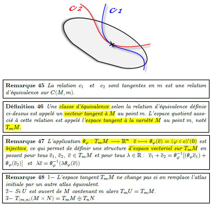 La relation c₁  et  c₂ sont tangentes en m est une relation d'équivalence sur C(M,m).  <definition/>Une classe d'équivalence selon la relation d'équivalence définie ci-dessus est appelé un vecteur tangent à M au point m. L'espace quotient associé à cette relation est appelé l'espace tangent à la variété M au point m, noté T_{m}M.  <remark/>L'application θ_{ϕ}:T_{m}M→ℝⁿ  c↦θ_{ϕ}(c)=(ϕ∘c)′(0) est bijective, ce qui permet de définir une structure d'espace vectoriel sur T_{m}M en posant pour tous c₁, c₂, c ∈T_{m}M et pour tous λ∈ℝ:  c₁+c₂=θ_{ϕ}⁻¹[(θ_{ϕ}c₁)+θ_{ϕ}(c₂)]  et  λc=θ_{ϕ}⁻¹(λθ_{ϕ}(c)) <remark/>1- L'espace tangent T_{m}M ne change pas si on remplace l'atlas initiale par un autre atlas équivalent. 2- Si U est ouvert de M contenant m alors T_{m}U=T_{m}M. 3- T_{(m,n)}(M×N)=T_{m}M⊕T_{n}N