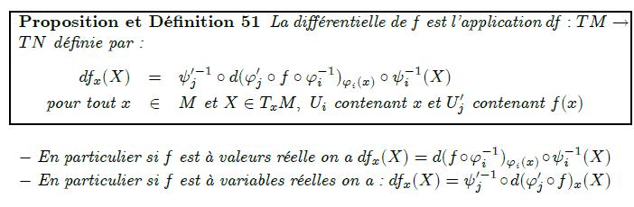 La différentielle de f est l'application df:TM→TN définie par :  df_{x}(X)  = ψ_{j}^{′-1}∘d(ϕ_{j}′∘f∘ϕ_{i}⁻¹)_{ϕ_{i}(x)}∘ψ_{i}⁻¹(X)  pour tout x  ∈ M et X∈T_{x}M, U_{i} contenant x et U_{j}′ contenant f(x)  - En particulier si f est à valeurs réelle on a df_{x}(X)=d(f∘ϕ_{i}⁻¹)_{ϕ_{i}(x)}∘ψ_{i}⁻¹(X)  - En particulier si f est à variables réelles on a : df_{x}(X)=ψ_{j}^{′-1}∘d(ϕ_{j}′∘f)_{x}(X)