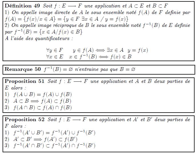 """Image directe et réciproque d'une partie <definition/>Soit f:E→F une application et A⊂E et B⊂F 1) On appelle image directe de A le sous ensemble noté f(A) de F definie par f(A)={f(x)/x∈A}={y∈F ∃x∈A / y=f(x)} 2) On appelle image réciproque de B le sous ensemble noté f⁻¹(B) de E definie par f⁻¹(B)={x∈A/f(x)∈B} A l'aide des quantificateurs : <K1.1/> <K1.1 ilk=""""TABLE"""" > ∀y∈F y∈f(A)⇔∃x∈A y=f(x) ∀x∈E x∈ f⁻¹(B)⇔f(x)∈B </K1.1> <remark/>f⁻¹(B)= n'entraine pas que B= <proposition/>Soit f:E→F une application et A et B deux parties de E alors : 1) f(A∪B)=f(A)∪f(B) 2) A⊂B⇒f(A)⊂f(B) 3) f(A∩B)⊂f(A)∩f(B) <proposition/>Soit f:E→F une application et A′ et B′ deux parties de F alors : 1) f⁻¹(A′∪B′)=f⁻¹(A′)∪f⁻¹(B′) 2) A′⊂B′⇒f(A′)⊂f(B′) 3) f⁻¹(A′∩B′)⊂f⁻¹(A′)∩f⁻¹(B′)"""