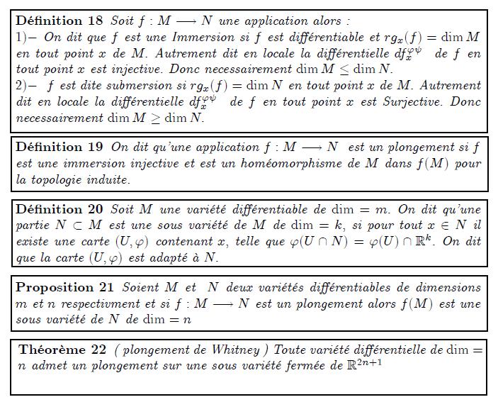1.5 Sous variétés, plongements Dé…nition 18 Soit f : M ! N une application alors : 1) On dit que f est une Immersion si f est di¤érentiable et rgx(f) = dimM en tout point x de M: Autrement dit en locale la di¤érentielle df'  x de f en tout point x est injective. Donc necessairement dimM  dimN: 2) f est dite submersion si rgx(f) = dimN en tout point x de M: Autrement dit en locale la di¤érentielle df'  x de f en tout point x est Surjective. Donc necessairement dimM  dimN: Dé…nition 19 On dit qu'une application f : M ! N est un plongement si f est une immersion injective et est un homéomorphisme de M dans f(M) pour la topologie induite. Dé…nition 20 Soit M une variété di¤érentiable de dim = m: On dit qu'une partie N  M est une sous variété de M de dim = k; si pour tout x 2 N il existe une carte (U; ') contenant x; telle que '(U \ N) = '(U) \ Rk: On dit que la carte (U; ') est adapté à N: Proposition 21 Soient M et N deux variétés di¤érentiables de dimensions m et n respectivment et si f : M ! N est un plongement alors f(M) est une sous variété de N de dim = n Théorème 22 ( plongement de Whitney ) Toute variété di¤érentielle de dim = n admet un plongement sur une sous variété fermée de R2n+1
