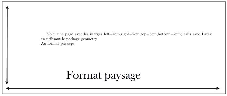 Orientation de la page Quand vous entendez parler de changement d'orientation de la page, cela évoque habituellement un passage au format à l'italienne, ou paysage, le mode portrait étant celui par défaut. Nous présentons deux façons légèrement différentes de changer l'orientation de la page. La première est celle qui consiste à placer tout votre document en mode paysage dès le début. Il existe diverses extensions pour réaliser ce changement, mais le plus simple est l'extension geometry. Il suffit pour l'utiliser, d'inclure cette extension avec l'option landscape (paysage). \usepackage[landscape]{geometry} Si de plus vous avez l'intention d'employer l'extension geometry avec une option pour fixer la taille de la page, n'exécutez surtout pas la commande \usepackage deux fois, mais regroupez simplement toutes les options ensemble, en les séparant par des virgules : \usepackage[a4paper,landscape]{geometry}