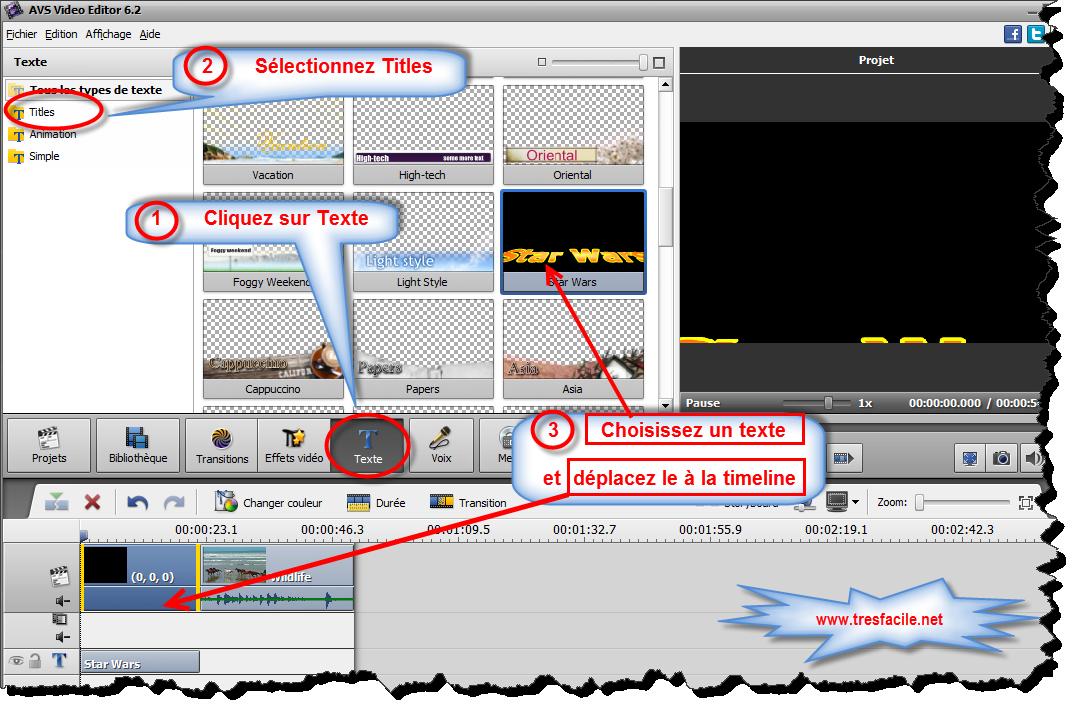 Pour intégrer du texte dans la vidéo, il faut placer un exemple de texte sur la Timeline. Avant tout cliquez sur le bouton Texte parmi les boutons centraux. Faites glisser l'exemple du texte à partir de la zone Fichiers et Effets vers la zone Timeline/Storyboard: