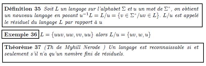 Langage résiduel  <definition/>Soit L un langage sur l'alphabet Σ et u un mot de Σ^{∗}, on obtient un nouveau langage en posant u⁻¹L=L/u={v∈Σ^{∗}/uv∈L}. L/u est appelé le résiduel du langage L par rapport à u  <example/>L={uuv,uw,vv,uu} alors L/u={uv,w,u}  <theorem/>(Th de Myhill Nerode ) Un langage est reconnaissable si et seulement s'il n'a qu'un nombre fini de résiduels.