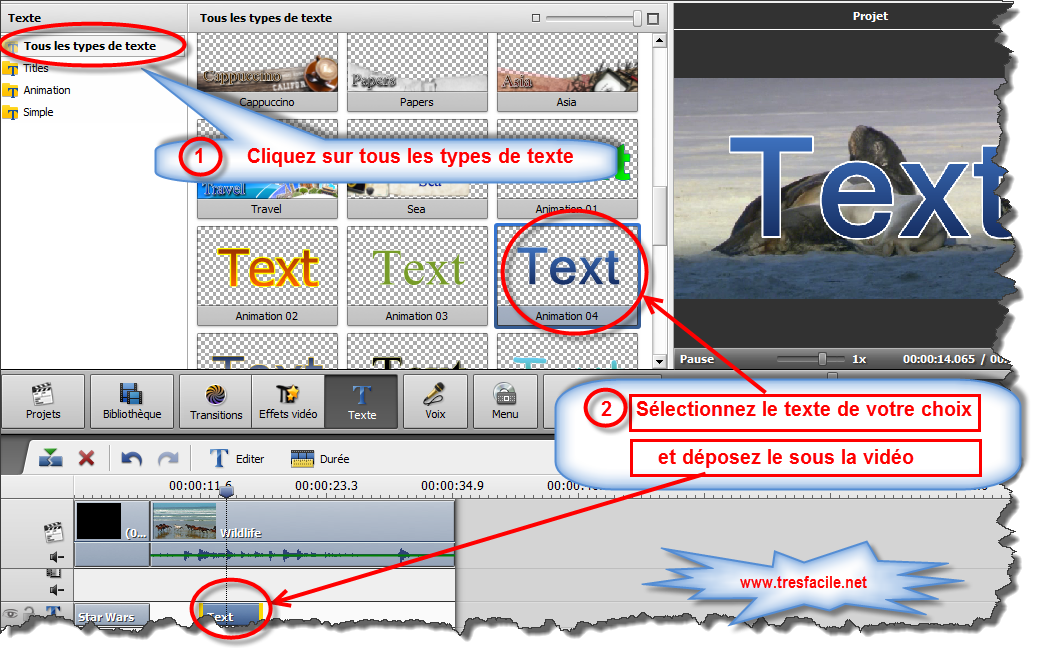 ajouter un texte à la vidéo avec AVS Video Editor Vous pouvez facilement modifier la durée du texte ajouté en utilisant la Timeline ou le bouton Durée sur la Barre d'outils Timeline. Changer la durée du texte Pour régler la durée sur la Timeline, cliquez sur la barre bleue de l'effet Texte, les bandes jaunes apparaissent. Puis cliquez une des bandes avec le bouton gauche de la souris et sans relâcher le bouton, déplacez-la à gauche ou à droite: De plus vous pouvez corriger la valeur de durée en cliquant le bouton Durée sur la Barre d'outils Timeline. La fenêtre suivante s'ouvre: Entrez la valeur de durée (mesurée en heures:minutes:secondes.millisecondes) en utilisant les boutons du clavier ou les flèches. Changer la position du texte