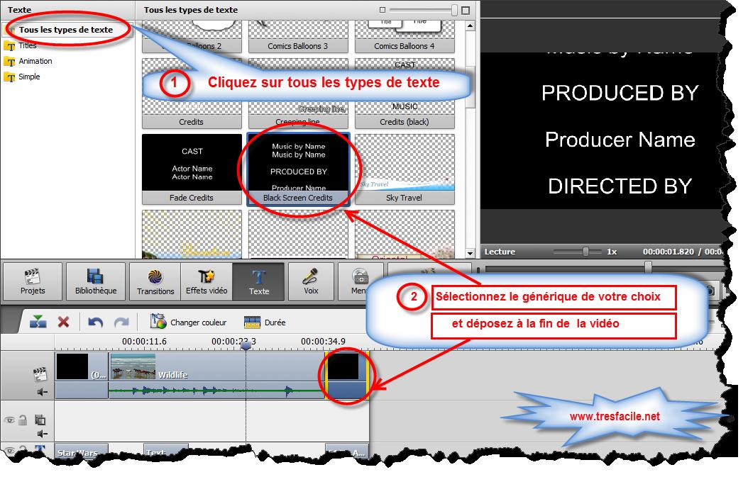 Si vous voulez mettre un texte à la vidéo, avant tout, sélectionnez un des presets disponibles dans l'onglet Dessin en le cliquant avec le bouton droit de la souris et en sélectionnant l'option Appliquer (s'il n'y a pas encore de texte sur la vidéo) ou l'option Ajouter (si vous voulez ajouter encore un texte à la vidéo) du menu contextuel. Vous pouvez aussi faites glisser le preset désiré et le déposer sur écran de prévisualisation de la fenêtre d'éditon.