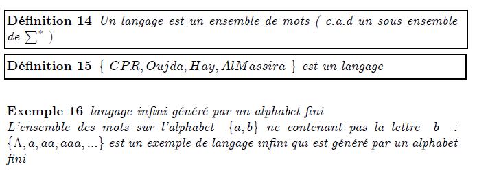 \section{Notion de langage} \begin{definition} Un langage est un ensemble de mots ( c.a.d un sous ensemble de $\sum^{\ast }$ $)$ \end{definition} \begin{definition} $\{$ $CPR,Oujda,Hay,AlMassira$ $\}$ est un langage\newline \end{definition} \begin{example} langage infini g\'{e}n\'{e}r\'{e} par un alphabet fini\newline L'ensemble des mots sur l'alphabet \ $\{a,b\}$ ne contenant pas la lettre \ $% b$ \ : $\{\Lambda ,a,aa,aaa,...\}$ est un exemple de langage infini qui est g% \'{e}n\'{e}r\'{e} par un alphabet fini \end{example}