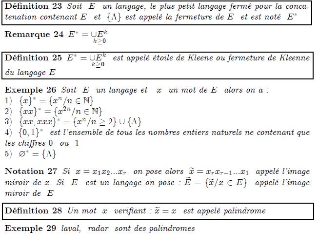\begin{definition} Soit \ $E$ \ un langage, le plus petit langage ferm\'{e} pour la concatenation contenant $E$ \ et \ $\{\Lambda \}$ est appel\'{e} la fermeture de $E$ \ et est not\'{e} \ $E^{\ast }$ \end{definition} \begin{remark} $E^{\ast }=\underset{k\geq 0}{\cup E^{k}}$ \end{remark} \begin{definition} $E^{\ast }=\underset{k\geq 0}{\cup E^{k}}$ \ est appel\'{e} \'{e}toile de Kleene ou fermeture de Kleenne du langage $E$ \end{definition} \begin{example} Soit \ $E$ \ un langage et \ $\ x$ \ un mot de $E$ \ alors on a:\newline $1)$ $\ \{x\}^{\ast }=\{x^{n}/n\in %TCIMACRO{\U{2115} }% %BeginExpansion \mathbb{N} %EndExpansion \}$\newline $2)$ \ $\{xx\}^{\ast }=\{x^{2n}/n\in %TCIMACRO{\U{2115} }% %BeginExpansion \mathbb{N} %EndExpansion \}$\newline $3)$ \ $\{xx,xxx\}^{\ast }=\{x^{n}/n\geq 2\}\cup \{\Lambda \}$\newline $4)$ \ $\{0,1\}^{\ast }$ \ est l'ensemble de tous les nombres entiers naturels ne contenant que les chiffres $0$ \ ou \ $1$\newline $5)$ \ $\varnothing ^{\ast }=\{\Lambda \}$ \end{example} \begin{notation} Si \ $x=x_{1}x_{2}...x_{r}$ \ on pose alors \ $\widetilde{x}% =x_{r}x_{r-1}...x_{1}$ \ appel\'{e} l'image miroir de $x$. Si \ $E$ \ est un langage on pose : $\widetilde{E}=\{\widetilde{x}/x\in E\}$ \ appel\'{e} l'image miroir de \ $E$ \end{notation} \begin{definition} Un mot \ $x$ \ verifiant : $\widetilde{x}=x$ \ est appel\'{e} palindrome \end{definition} \begin{example} laval, \ radar \ sont des palindromes \end{example}