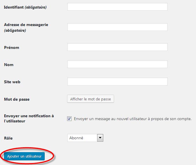 create new wordpress user