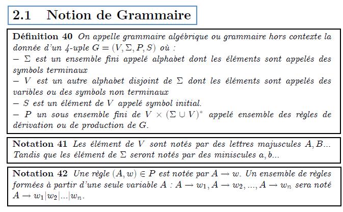 \chapter{Grammaire hors contexte} \section{Notion de Grammaire} \begin{definition} On appelle grammaire alg\'{e}brique ou grammaire hors contexte la donn\'{e}e d'un 4-uple $G=(V,\Sigma ,P,S)$ o\`{u} :\newline $-$ $\Sigma $ est un ensemble fini appel\'{e} alphabet dont les \'{e}l\'{e}% ments sont appel\'{e}s des symbols terminaux\newline $-$ $V$ est un autre alphabet disjoint de $\Sigma $\ dont les \'{e}l\'{e}% ments sont appel\'{e}s des varibles ou des symbols non terminaux\newline $-$ $S$ est un \'{e}l\'{e}ment de $V$ appel\'{e} symbol initial.\newline $-$ $P$ un sous ensemble fini de $V\times (\Sigma \cup V)^{\ast }$ appel\'{e} ensemble des r\`{e}gles de d\'{e}rivation ou de production de $G.$ \end{definition} \begin{notation} Les \'{e}l\'{e}ment de $V$ sont not\'{e}s par des lettres majuscules $A,B...$ Tandis que les \'{e}l\'{e}ment de $\Sigma $ seront not\'{e}s par des miniscules $a,b...$ \end{notation} \begin{notation} Une r\`{e}gle $(A,w)\in P$ est not\'{e}e par $A\rightarrow w.$ Un ensemble de r\`{e}gles form\'{e}es \`{a} partir d'une seule variable $A$ : $% A\rightarrow w_{1},A\rightarrow w_{2},...,A\rightarrow w_{n}$ sera not\'{e} $% A\rightarrow w_{1}|w_{2}|...|w_{n}.$ \end{notation}
