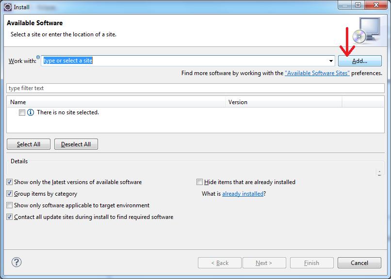 cliquez sur le bouton add pour installer WindowBuilder