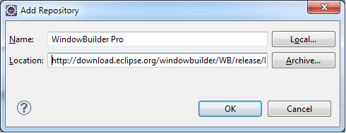 configurer windowBuilder