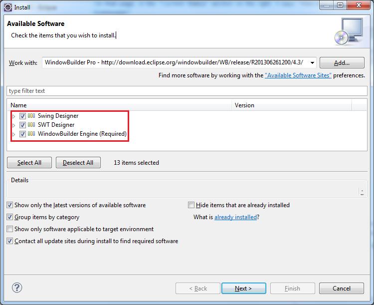 graphique avec plugin Eclipse windowBuilder pro