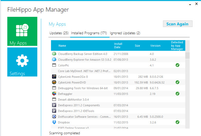 FileHippo App Manager is an excellent application that keeps your system up-to-date. FileHippo App Manager examines the applications installed on your computer, checks the versions and sends this data to FileHippo.com to check for new versions available.