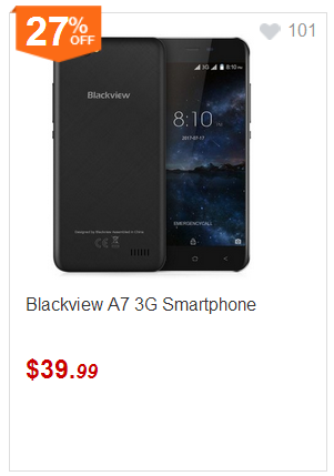 Product Overview: Blackview A7 3G Smartphone Android 7.0 5.0 Inch Dual SIM, Dual Standby, CPU: MTK6580A, RAM: 1GB, ROM: 8GB, external memory: TF card up to 32GB (not included), connectivity wireless: 3G, Bluetooth, GPS, GSM, WiFi, screen resolution: 1280x720 (HD 720), rear camera: 0.3MP + 5.0MP, front camera: 2.0MP, battery: 2800mAh, product size: 14.30x7. 10x0.95cm, Package weight: 0.433kg