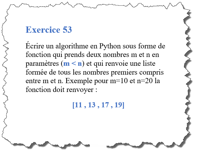exercice-53-algorithme python qui récupère la liste des nombres premiers contenu dans un segment donné
